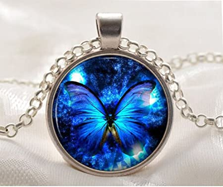 Turquoise Heart Pendant 22cm Blue Butterfly Pendant Necklace 8.6 Silk Painting Print Womens Jewellery Chain Wife Girlfriend Gift