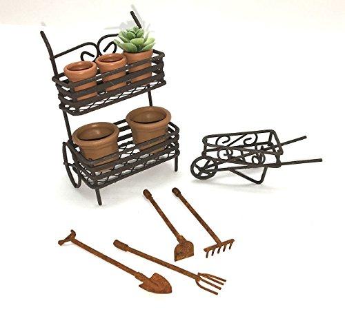 DIY Fairy Garden Kit, with Miniature Rustic Plant Cart, Wheel Barrow and Accessories (Accessory Wheelbarrow)