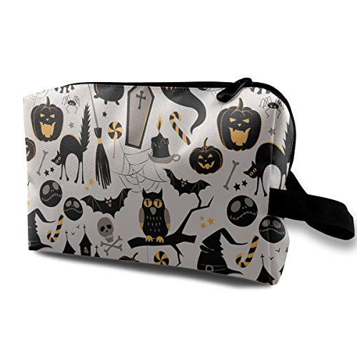 Huazhuangbaobao Halloween Cartoon Jack O Lantern Portable Travel Cosmetic Bags Makeup Organizer Bags Large Capacity Toiletry Organizer Cases Travel Pouch -