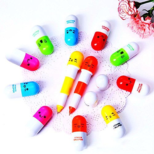 Hanbaili 10Pcs Random Color Smiling Face Mini Retractable Pill BallPoint Pen Novelty Capsule Ballpen