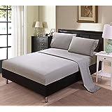 Unique Home 1500 Series 4 Piece Microfiber Bed Sheet Set, Queen, Gray