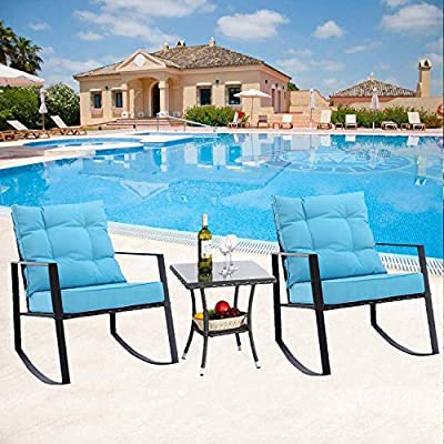M&S 3 Pieces Rocking Chair Outdoor Patio Bistro Sets Rattan Wicker with Thick Cushions and Coffee Table (EXP-TRQ)