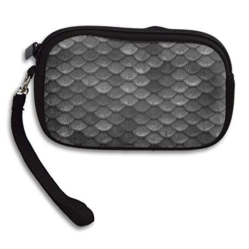(ART TANG Unisex Waterproof Smartphone Wristlets Bag Clutch Beautiful Charcoal Gray Mermaid Fish Scales Change Purses)