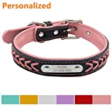 #10: LaReine™ Personalized Leather Dog Collar, Braided Soft Leather Name Plated Dog Collars for Small Medium Large, Custom Engraved On Collar Pet ID Tags for Cat and Dog [ XS, S, M, L, XL ] Pink