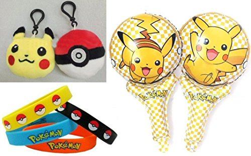 Pokemon Party Favor Lot of 30 - Plush Pikachu & Pokeballs, Bracelets, Mylar Balloons