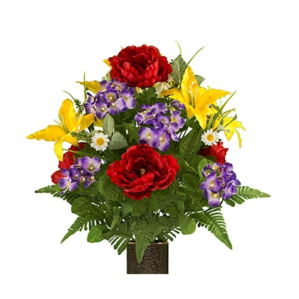 Rubys-Silk-Flowers-Purple-Hydrangea-Red-Peony-and-Yellow-Lilies-featuring-the-Stay-In-The-Vase-DesignC-Flower-Holder-MD1973