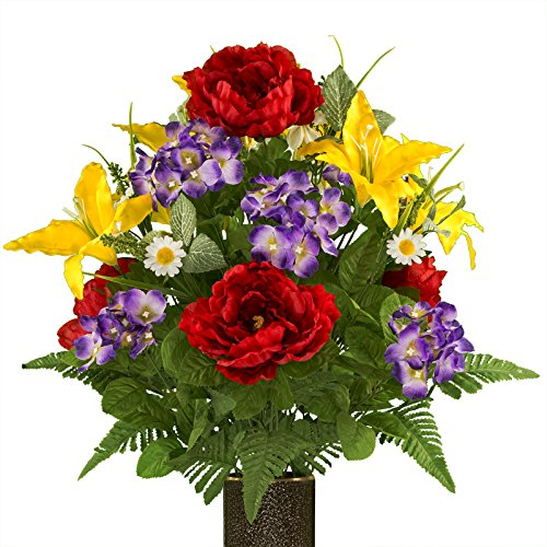 (Ruby's Silk Flowers Purple Hydrangea Red Peony and Yellow Lilies, featuring the Stay-In-The-Vase Design(C) Flower Holder (MD1973) )