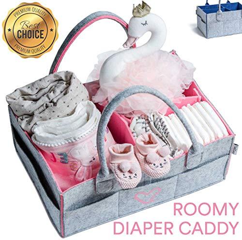 Diaper Caddy?Diaper Caddy Organizer?Nursery Organizer?Baby Shower Gift?Nursery Storage bin for Diapers and Wipes (Pink)