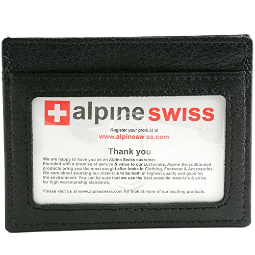 Alpine Swiss Men's Leather Money Clip Front Pocket Wallet Black