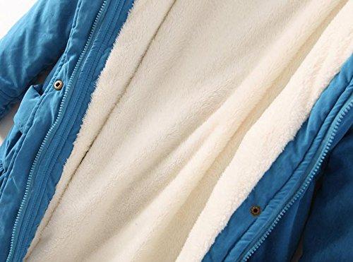 piel abrigo de de de sintética con Black Abrigo mujeres de de las capucha chaqueta invierno de cálido lana invierno PwqwXRv