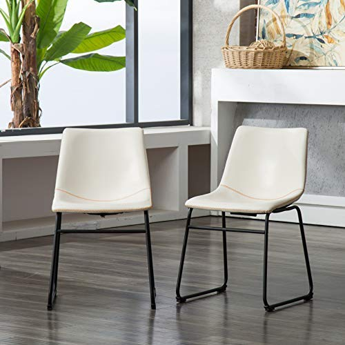Roundhill Furniture Lotusville Vintage PU Leather Dining Chairs, Set of 2, White (Lotus Chair)