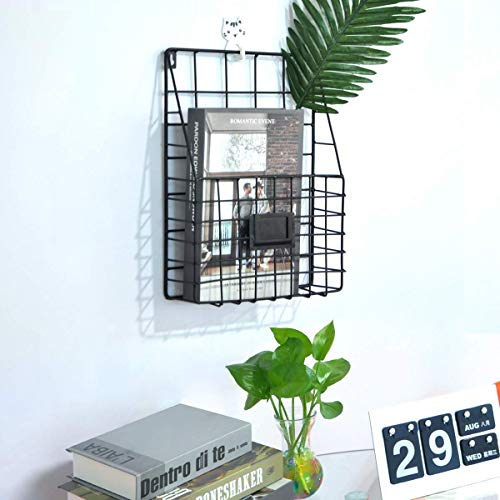 Wall File Holder, Wire Magazine Holder Multi Purpose Wall Mount Hanging Folder Mail Organizer with Rail Metal Wire Baskets Hooks Rustic Industrial Style Black