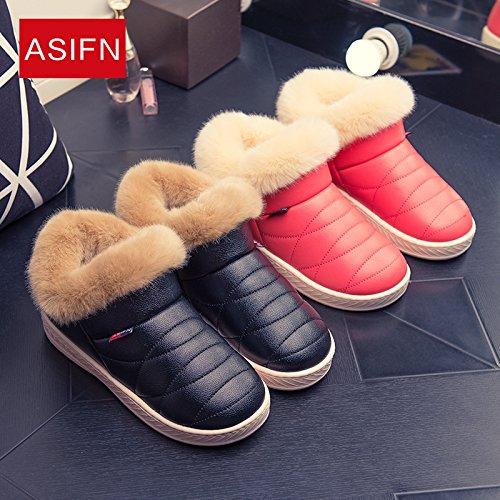 CWAIXXZZ pantofole morbide Il cotone pantofole inverno femmina ad alta aiutare più spessa di velluto pacchetto caldo con coppie di uomini e soggiorno all'aperto pu spessa pelle cotone impermeabile sca