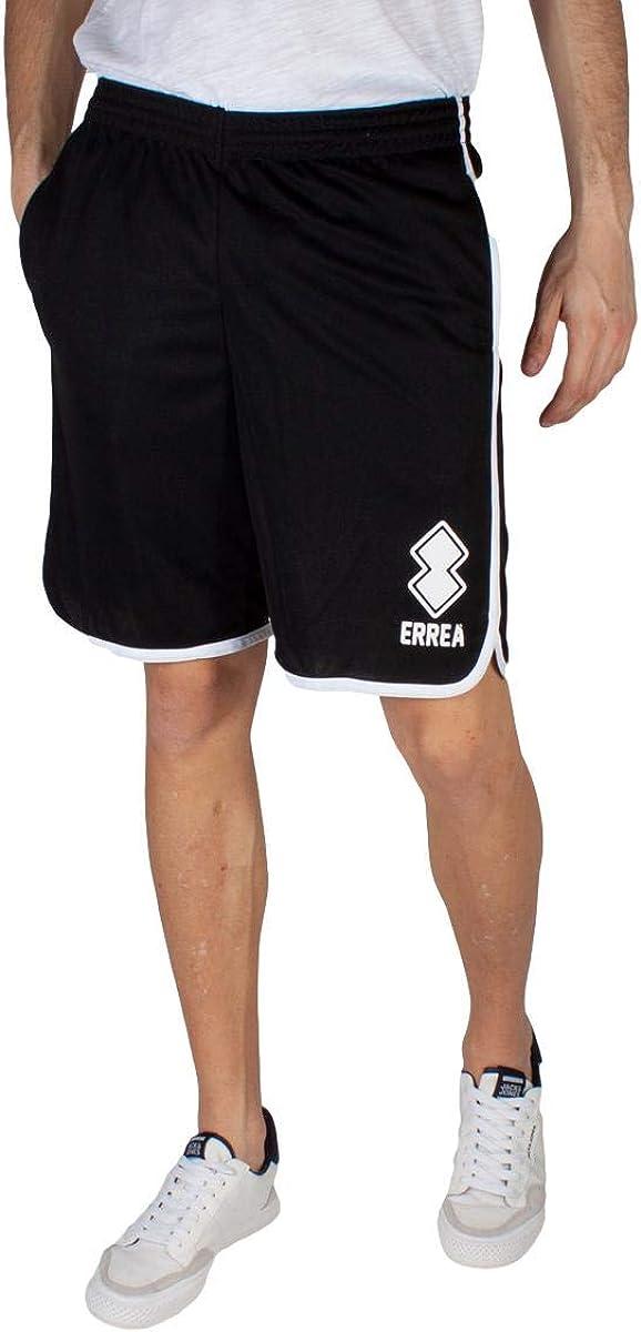 Errea Republic Pantaloncini Shorts Sport Uomo Ragazzo Essential SS21 Man Vertical Logo Basket Bermuda Nero