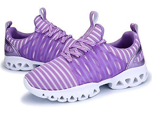 IIIIS-R Mujer Hombre Respirable Mesh Zapatos corrientes al aire libre Zapatilla de deporte morado