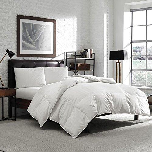 Eddie Bauer Luxury Hypoallergenic 650 Fill Power Lofty Down Comforter - 300 TC Damask Striped Cotton - Medium Warmth (Oversized Queen 90