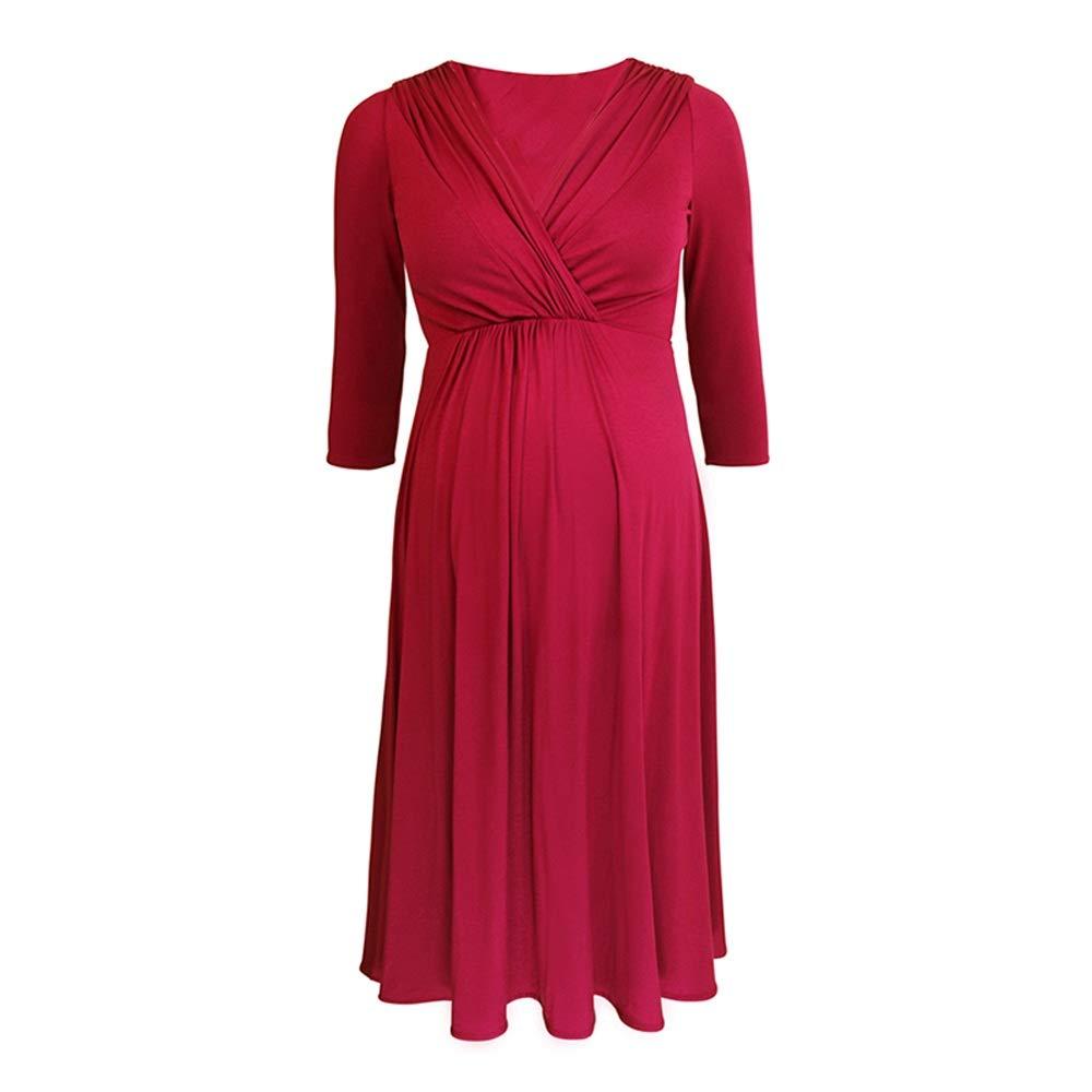GAOJIE 妊娠中の女性の春新しい長袖のハイエンドのモーダル母乳育児のドレスドレス (色 : ブラック, サイズ さいず : S s) B07NSW1VQM S s 赤 赤 S s