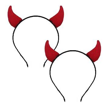 RED DEVIL HORNS HEADBAND HALLOWEEN LADIES GIRLS FANCY DRESS HEADBAND BOYS