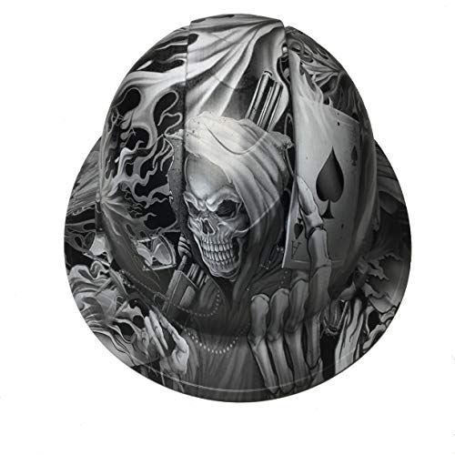 Hard Hat Ridgeline Full Brim Custom White Ace Of Skulls Satin