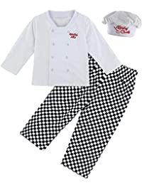 MOMBEBE COSLAND Baby Boys' 3 Pieces Chef Clothing Set with Hat
