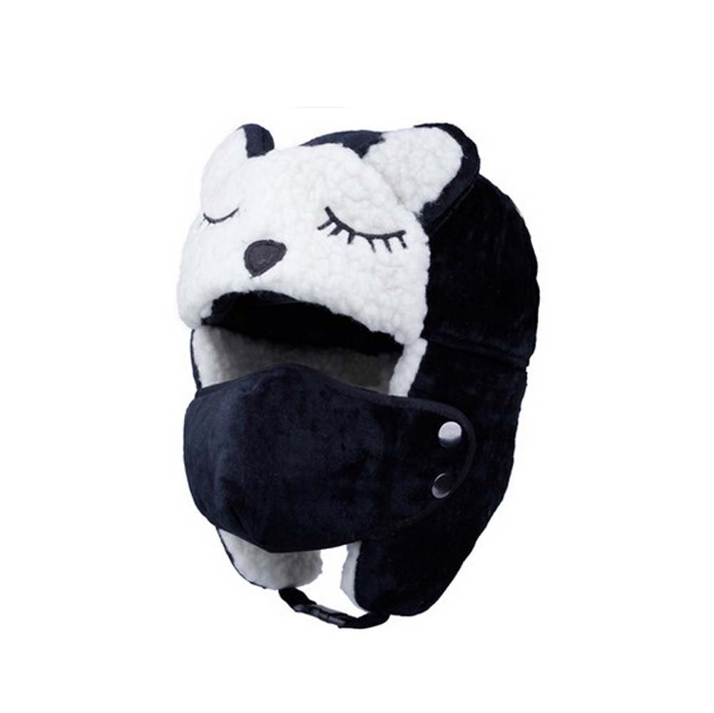 Cool Children BLACK Earflap Winter Warm Hat Skiing Hats, 4-12 Years PANDA SUPERSTORE PS-SPO2475023011-ALAN02987