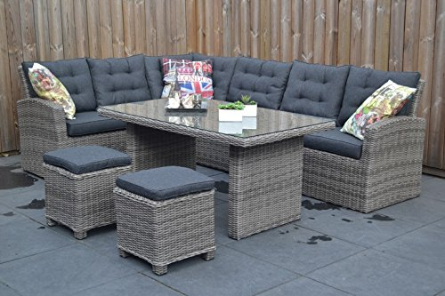 hochwertige tischgruppe in grau polyrattan ecklounge garten m bel poly rattan speisegruppe. Black Bedroom Furniture Sets. Home Design Ideas