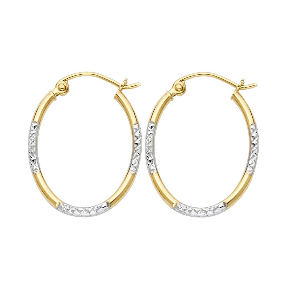 16X20mm 14k Two-Tone Gold Diamond-Cut Round Tube Oval Hoop Earrings