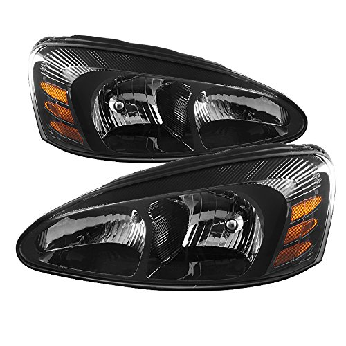 (Jdragon for Pontiac 2004-2008 Grand Prix Black Housing Replacement Headlights GT GTP GXP)