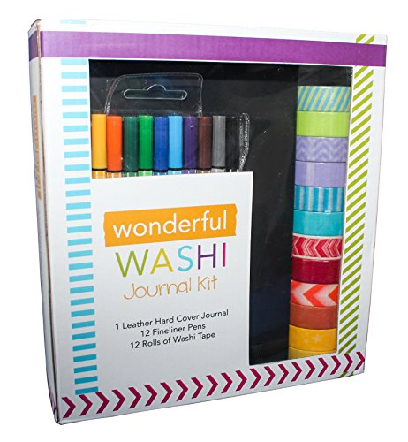 Wonderful Washi Bullet Journal Set - Includes Hard Cover A5 5.7 x 8.3 Journal (Acid free, 80 GSM, 120 dotted pages) 12 Multi-color Fine liner Pens (0.4 Point), 12 Rolls of Washi Tape