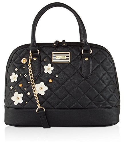 Betsey Johnson Diamond Quilted 3d Floral Design Detail Dome Satchel Cross Body Bb17240