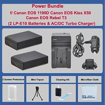 2 baterías LP-E10 + AC/DC cargador de Turbo W/adaptador de ...