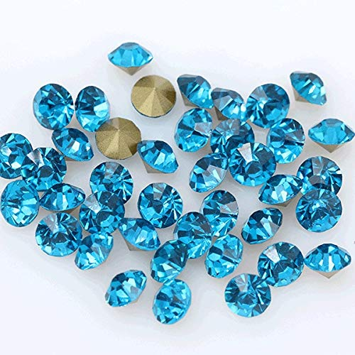 Pukido 144p ss1 1mm Round Assorted Pointed Foiled Back Czech Crystal Faceted Glass Rhinestones Brooch Watch Jewelry Repair Loose Beads - (Color: Capri Blue) from Pukido