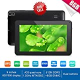 Goldengulf Newest 9 Inch Ultra Slim Design Android 4.4 Tablet PC - Quad Core 8GB Storage - Complete with Touch Screen, WIFI, Dual Camera, Bluetooth, Highly Recommend (black)