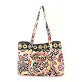 quilted fabric bags - Floral Quilted Cotton Tote Bag Green