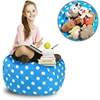 ROPODA Kids Stuffed Animal Storage Bean Bag Cover-100% cotton canvas storage bag Perfect Storage Solution for Toys, Clothes,Covers or Blankets (30',Blue/white Polka Dots)
