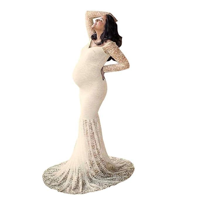 dd332b3dd987 Luoluoluo Vestito Premaman Abbigliamento Premaman Abiti Eleganti Donne Incinte  Abito Lungo da Donna in Pizzo - Vestiti Donne Incinte Gonne Fotografiche di  ...