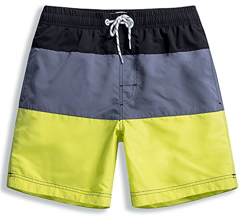 MaaMgic Mens Quick Dry Striped Swim Trunks with Mesh Lining Swimwear Bathing Suits,Yellow-glm003,X-Large
