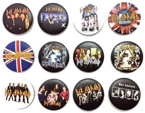 """The Bigger Vivider 1.75"""" Lot 12 Awesome Pin Button Badge Def Leppard Rick Savage"""