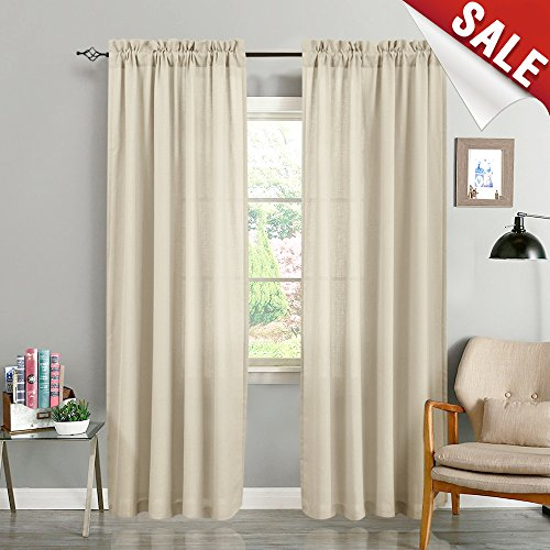 Semi Sheer Curtains for Living Room 84 Inches Long Casual Weave Voile Curtain Panels for Bedroom Window Treatment Pack of 2 ()