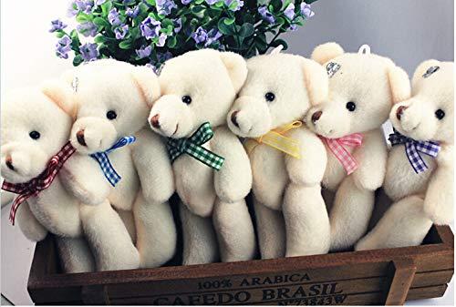 ForteGlo 11-12cm - 50pieces/lot 12cm Plush Flowers Bear Doll Bear Bowknot Teddy Bear Doll Plush Grid tie Joints Pendant 1 PCs from ForteGlo