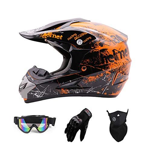 Matt Black,M Motocross Quad Crash DH Helmet ECE YEMA YM-915 Full Face Off Road Downhill Dirt Bike MX ATV Motorbike Helmet for Adult Men Women