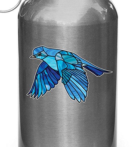 Yadda-Yadda Design Co. Bird - Bluebird in Flight - Stained Glass Style Opaque Vinyl Waterbottle Decal - Copyright 2015 (SM 3.75