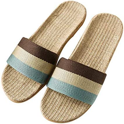 JULAN Couple Flax Linen Slippers Casual Anti-Slip Shoes House Slippers for Men Women
