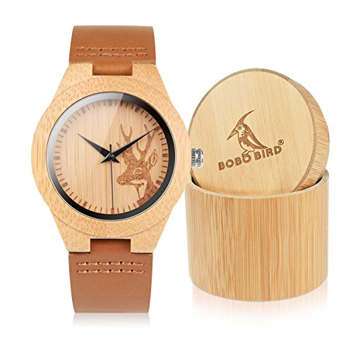 BOBO BIRD F29 Women's Casual Wooden Watch Handmade Elk Deer Head Wrist Watch with Soft Brown Leather Strap Great Gifts for Women