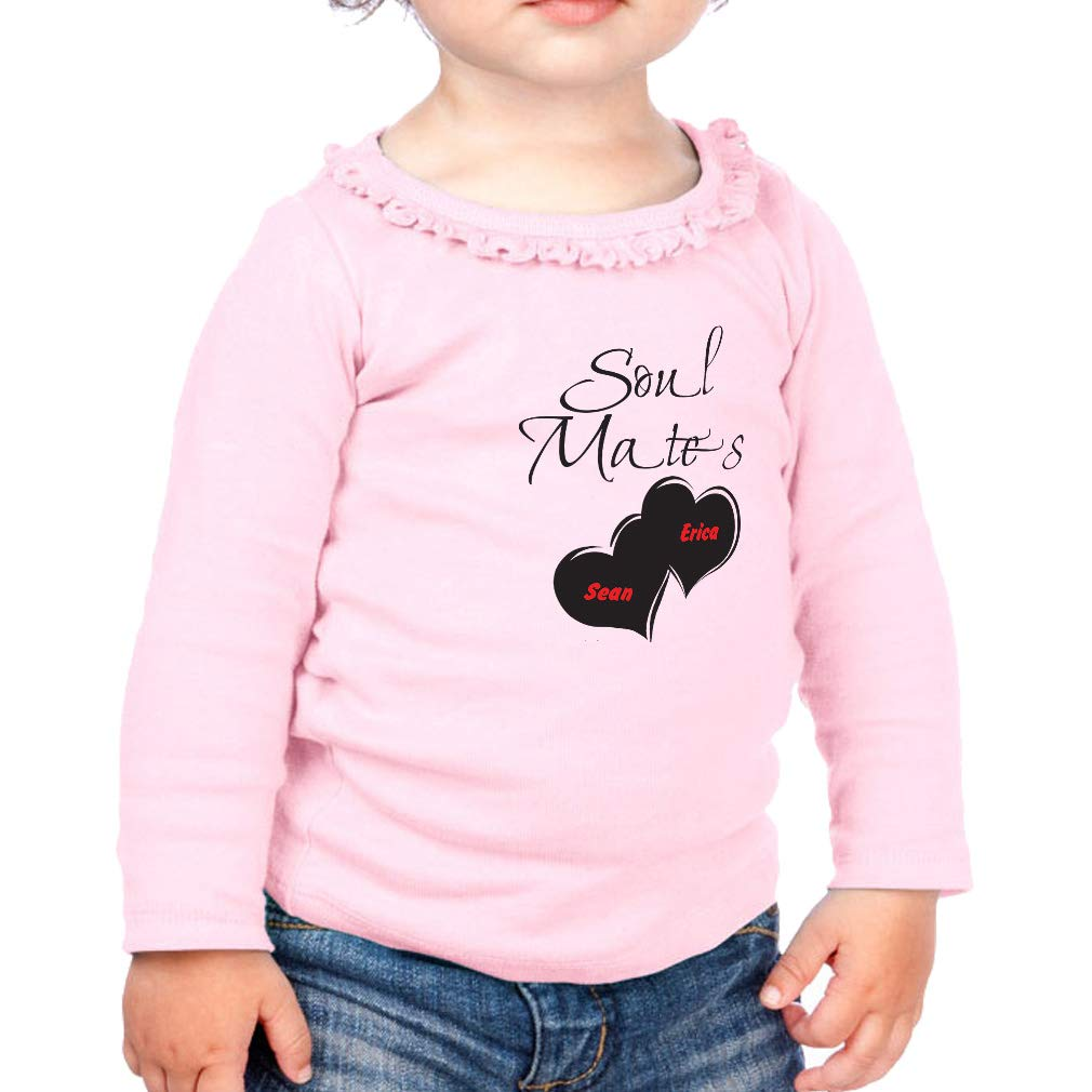 Personalized Custom Soulmates Cotton Toddler Long Sleeve Ruffle Shirt Top