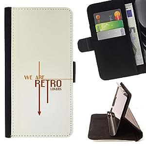 BullDog Case - FOR/HTC One M7 / - / retro vintage text cool clean white /- Monedero de cuero de la PU Llevar cubierta de la caja con el ID Credit Card Slots Flip funda de cuer