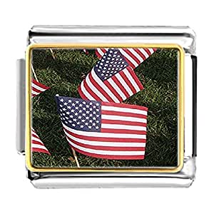 Chicforest Gold Plated American Flags Memorial Day Bracelet Link Photo Italian Charm