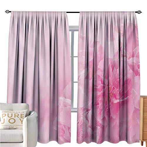 bybyhome Pale PinkPolyester curtainSpring Flowers Close Up View Florets Bouquet Beauty Wedding Shabby Chic PrintDrapes for Living Room W108 xL72 Baby Pink