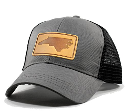 Homeland Tees Men's North Carolina Leather Patch Trucker Hat - Grey (Carolina Mens Leather)