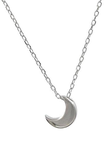 Sterling Silver Moon Necklace (Tiny/Discreet) 45cm Sj3PMDK6h